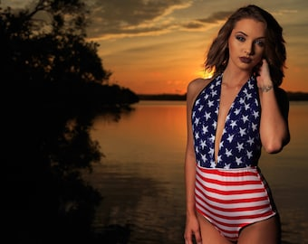 Patriotic High Waisted Swimsuit! LIMITED EDITION Retro One piece Stars and Stripes Swimwear! Maillot Bikini!