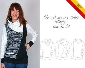 Your choice sweatshirt woman US LETTER PDF-pattern