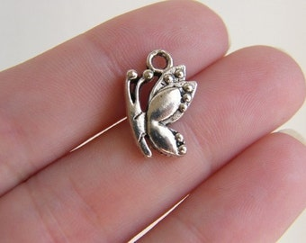 12 Butterfly charms antique silver tone A336
