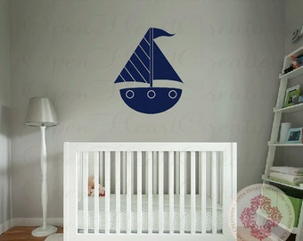 Boat Graphic Vinyl Wall Decal - Nautical Wall Decals for Boys Nursery Bedroom or Play Room 28H x 22W NW0049
