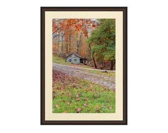 Autumn Landscape, Fall Landscape, Country Cabin Photo, Farmhouse Decor, Farmhouse Photo, Farmhouse Art, Rustic Farmhouse Art, Brown County