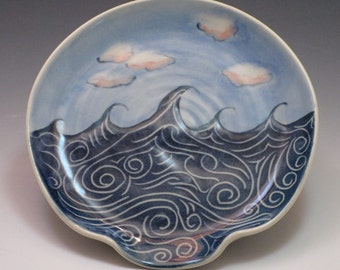 Ceramic spoon rest / Pottery spoon rest, made of porcelain, blue wave and cloud pattern