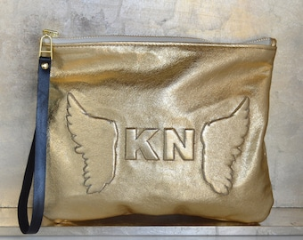 Medium Metallic Gold Angel Wing Monogram Leather Clutch, Leather Pouch, Leather carryall, custom handmade to order
