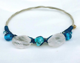Guitar String Bangle with Rose Quartz and Turquoise