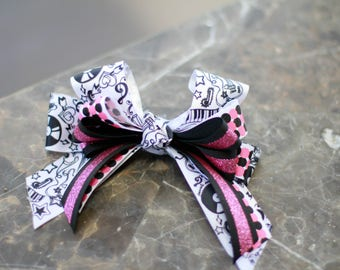 Rock n Roll musical instruments pink black hair bow