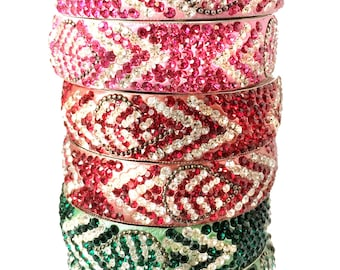 Indian Bangles-Pink Crystal Bangles-Stacking bracelets-Indian Bangle,wedding,bridal faire, bridesmaids gifts by Taneesi Jewelry K442P