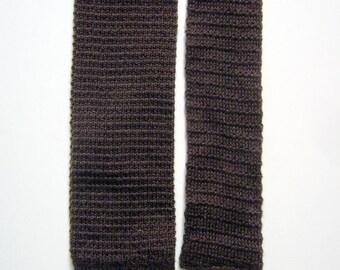 Vintage Lisle Cotton Knit Necktie - Espresso Brown - Square End Tie - XL