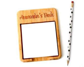 Personalized Bamboo Sticky Note Holder - Custom coworker Gift - Gift for Office