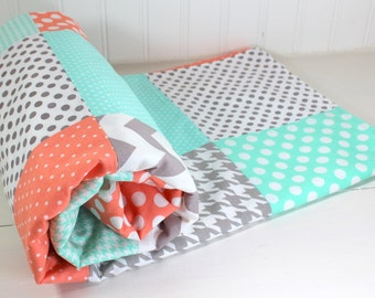 Baby Blanket, Minky Baby Blanket, Baby Quilt, Patchwork Quilt, Baby Shower Gift, Nursery Decor, Peach, Mint, Gray, Grey, White, Chevron