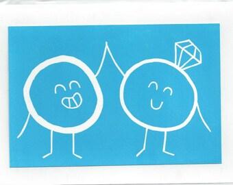 Ring Hi-Five Wedding Greeting Card SUPPORTS CHARITY 5x7 Handmade Linocut Artwork