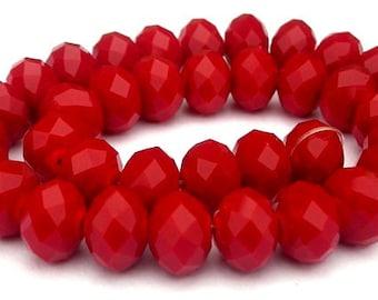 30 opaque deep red beads, 7.5mm x 5.5mm deep crimson rondelles, velvet Chinese crystal