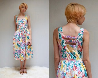 FLORAL SUNDress FLORAL Cotton Dress 80s Cotton SUNDRESS Prairie Dress Cotton Midi Dress Summer Dress 80s Dress Floral Sundress India Cotton