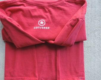 Vintage Converse T Shirt Red Tee Shirt Star Logo Converse Shirts Print Cotton T Shirt size L