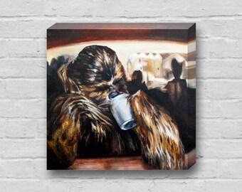 Chewy Needs Coffee - Superhero Chewbacca Star Wars 10x10 inch Art Canvas Print