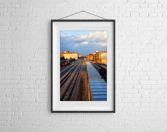 Rail Road Rail Yard Photography, Train Tracks Photo, Urban Street Art, Modern Art, Art for Decorators, Art for Architecture, CIty Scenes, TN
