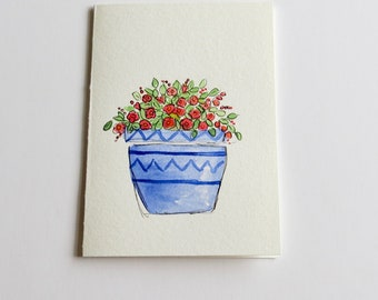 Hand painted watercolor card - Original watercolor notecard - hand painted flowers - roses watercolor and ink - handmade watercolor card -