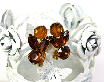 Vintage 50s Jewel Earrings Large Topaz & Amber Glass Round w Navettes Stones Clip Backs
