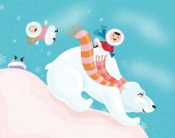 Polar Bear Express, giclee print 5x7 on watercolor paper