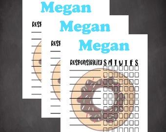 Chore chart, chore chart template, family chore chart, kids chore chart, editable chore chart, summer chore chart, daily planner, toddler