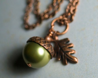 "Green Swarovski Crystal Pearl Acorn Oak Leaf Necklace Antiqued Copper Wrapped Pendant Apple Green Autumn Fall - ""Ginger Gold"""