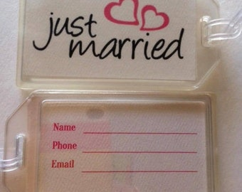 Just MarriedLuggage Tags, Luggage Tags, Honeymoon Tags, Personalized Luggage, Wedding Gift, Travel Gifts, Bag Tags, Honeymoon Trip