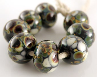 Psychedelic Gecko SRA Lampwork Handmade Artisan Glass Donut/Round Beads Made to Order Set of 8 8x12mm