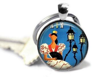Spain keychain flamenco dancer key chain vintage travel keyring Spanish key ring charm.