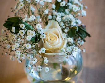 Floral Rose with Baby's Breath in shallow Vase