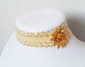 Boho Choker Hippie Choker Boho Necklace Yoga Choker Hippie Necklace Flower Choker Ivory Choker Gold Choker Wedding Choker Bridesmaid Choker