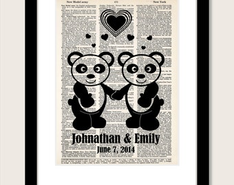 Panda Couple  Personalized Gift - Name and Date - Wedding, Shower, Anniversary, Couples Gift, Valentines Day Gift - Dictionary Art Print