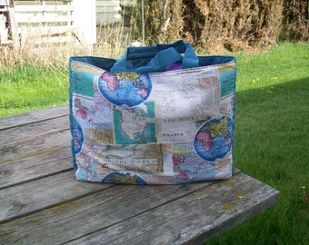 Map of the World Tote Bag Reusable Grocery Bag Shopping Bag Ready to Ship Travel Tote