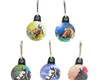 5 ZIPPER PULLS, Horses, Assorted set