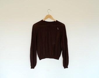 Vintage Dark Brown Semi Sheer Long Sleeve Knit Pullover Sweater Jumper