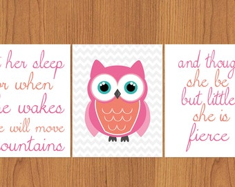 Let Her Sleep For When She Wakes And Though She Be But Little She is Fierce Nursery Wall Art Coral Pink Teal Chevron Owl set of 3 (41)