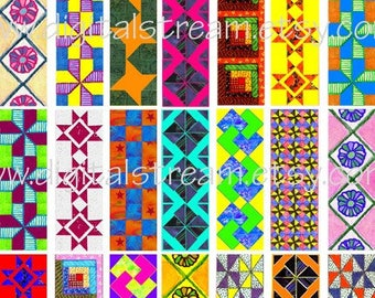 Quilt Designs Digital Collage Sheet 23 Different 1x3 Inch Microscope Slide Images Scrapbooking