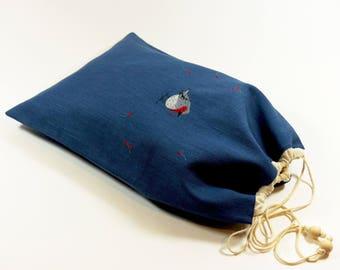 Grand sac à coulisse lin, broderie rouge-gorge faite-main, doublé en coton, liens coulissants, rangement doudous, pochon sous-vêtements
