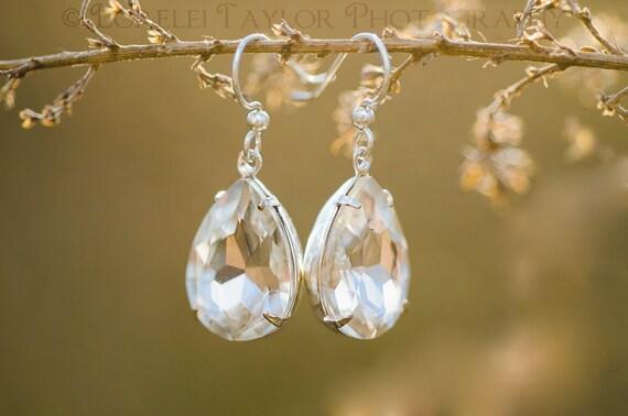 Crystal Drop Earrings - Bridal Jewelry Silver Teardrop Earrings | Wedding Jewelry | Pear Jewels Estate Style Dangle | Sterling Silver Hooks