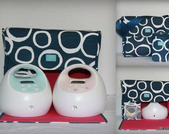 XS Alana style Spectra Breast Pump Bag in PP Freehand Navy print