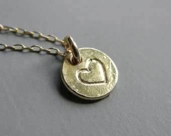 Little Heart Tag Necklace (Gold)
