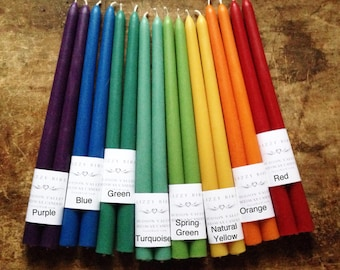 Beeswax Candles, One Pair of Beeswax Tapers, Standard Size Tapers, 12 inch Tapers, Custom Color Candles, Bee-Friendly Beeswax