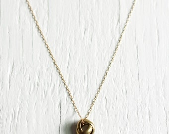 Brass Twist Bead Necklace on a 14kt Gold Fill Chain