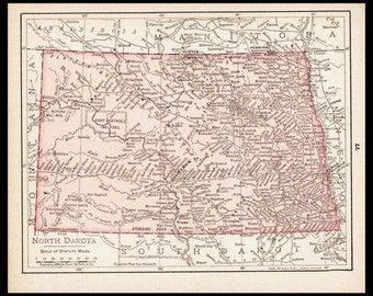 Small North Dakota Map of North Dakota State Map (Vintage Map Wall Decor Print, 1900s Color Map Wall Art) Antique Atlas Map No. 77-2