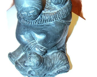 The Wolf Soulptures / The Wolf Sculptures Eskimo Woman & Child in papoose and dog, Collectible soapstone, Vintage sculptures, home decor