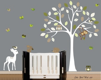 White childrens wall decal tree fawn owls nursery walls decals