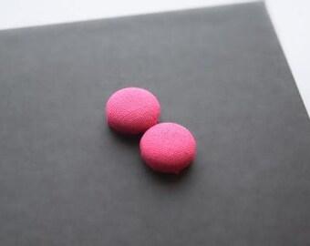 Hot Pink Earrings, Neon Earrings, Stud Earrings, Fabric earrings