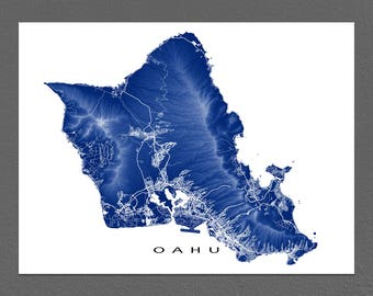 Oahu Map Print, Oahu Art, Hawaii Map, Hawaiian Island, Honolulu