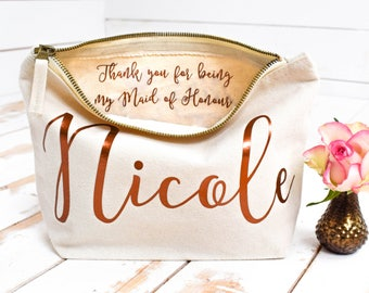 Wedding Thank you Gift - Personalised Bridesmaid Gift Make Up Bag - Maid of Honour Gift - Unique Gift for Bridal Party, Makeup Cosmetic Bags