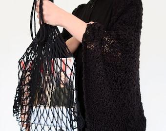 Crochet shoulder net bag, mesh bag, cotton shopping bag, re-usable bag, eco-friendly bag, grocery tote, net beach bag