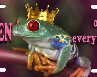 Personalized Custom License Plate Frog Queen of Everything