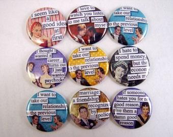 One Inch Flatback Retro Ladies with Attitude Quotes Buttons or Pins 12 ct.